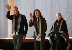 The Duke and Duchess of Cambridge were given matching scarves before they made their way i...