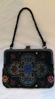 "Beautiful Vintage Art Deco Micro Beaded Purse - 5.5""W x 5""T Overall Length 10.5"""