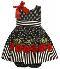 Bonnie Baby Girls Dress with Dots And Bonaz Cherries