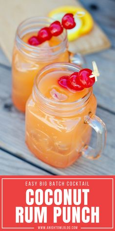 Coconut Rum Punch Recipe ~ and the White Sangria looks really good to me. Rum Punch Cocktail, Cocktail Drinks, Cocktail Recipes, Drink Recipes, Bourbon Drinks, Party Recipes, Punch Drink, Rum Punch Recipes, Cooking Recipes