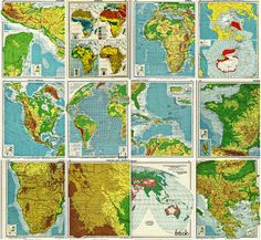 vintage color world maps and atlas charts  by whitecottagesupplies, $5.00