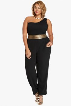 Harper One Shoulder Jumpsuit | Fashion To Figure | $46.90 | Click the Link to Shop - http://goo.gl/LWawrt