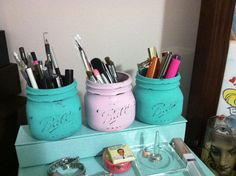 Mason jars make-up holders