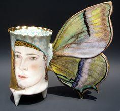"Irina Zaytceva. ""THECLACOANNATA"" Butterfly cup Handbuilt porcelain, overglaze painting, 24k gold luster"