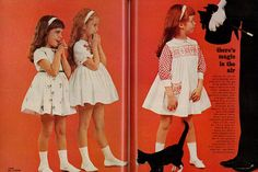 "1962 Children's Fashion Ad, Girls' Party Dresses, with Magician & Black Cat, ""Magic in the Air"" (2 pages) 