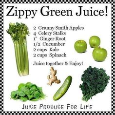 Zippy Green Juice Ingredients: 2 Granny Smith Apples 4 Celery Stalks Ginger Root Cucumber 2 Cups Kale 2 Cups Spinach Juice and . Green Juice Recipes, Healthy Juice Recipes, Juicer Recipes, Healthy Detox, Healthy Juices, Healthy Smoothies, Healthy Drinks, Detox Juices, Cleanse Recipes