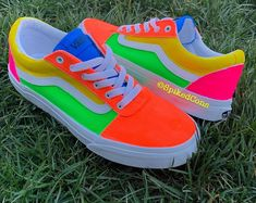 Shop Women's Vans size Sneakers at a discounted price at Poshmark. Description: Neon Colored Vans only wore once! men size so it'll be a 10 in Women size. Neon Vans, Neon Shoes, Nike Air Shoes, Hype Shoes, Women's Shoes, Cool Vans Shoes, Shoes Gif, Kickers Shoes, Vans Shoes Old Skool