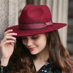 7e1dd6e203c Wide brim fedora hat with bow for women vintage winter wool felt hats