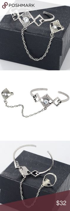 Coming Soon! Antique Silver Geometry bracelet Ring New Fashion Antique Silver Geometry Slave Chain Bangles Bracelets with Finger Ring for Women Arm Cuff Fashion Jewelry Queen Esther Etc Jewelry Bracelets