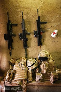 Rifles and Medical Kit Ready for Use at FOB Gibraltar, Afghanistan by Defence Images, via Flickr