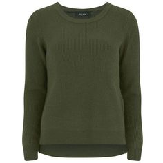 VILA Women's Knitted Jumper with Side Zip - Ivy Green (£42) ❤ liked on Polyvore featuring tops, sweaters, green, green sweater, side zip sweater, ribbed top, jumpers sweaters and ribbed sweater