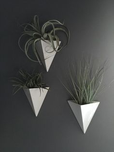 MUDDY HEART Minimal & modern , this porcelain wall planter pyramid is absolutely stunning!. It looks fantastic by itself or in a grouping of the same