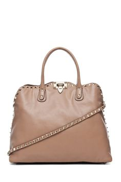 Valentino Rockstud Double Handle Bag in Sand