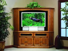 Amish Traditional Corner Entertainment Center With Raised Panel Doors