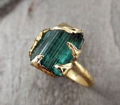 Raw Blue Green Tourmaline Gold Ring Rough Uncut Gemstone tourmaline recycled 14k Size 6 1/4 stacking cocktail statement byAngeline
