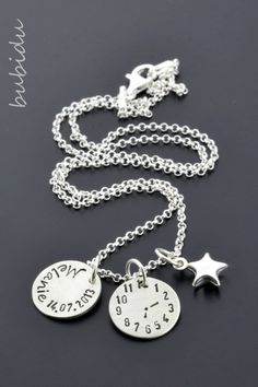 Name Necklaces – Baptism Necklace made of 925 silver for christening, children's jewelery – a unique product by bubidu on DaWanda - Diy Gifts Name Necklace, Diy Necklace, Washer Necklace, Baby Schmuck, My Moon And Stars, Baby Co, Diy Gifts For Kids, Diy Birthday, Christening