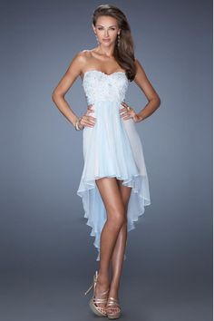 2014 High Low Prom Dress Sweetheart A Line Chiffon Open Back With Applique And Beads Embellished Bodice