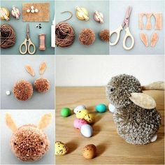 Easy and Cute Pom Pom Easter Bunny for Kids Pom-Pom Bunnies Whip up these Pom-Pom Bunnies for a quick and easy Easter decoration. Here is an array of colourful DIY Easter craft decoration ideas that you and your kids will definitely love and make your Eas Kids Crafts, Bunny Crafts, Adult Crafts, Crafts For Teens, Easter Crafts, Diy And Crafts, Craft Projects, Easter Art, Easter Decor