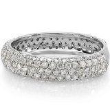 1.35 Carat (ctw) 14K White Gold Round White Diamond Pave set Anniversary Wedding Ring Band