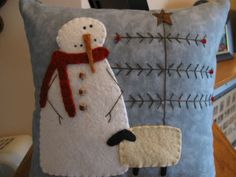snowman and sheep pillow