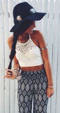 #street #style lace crop top + geo print pants @wachabuy