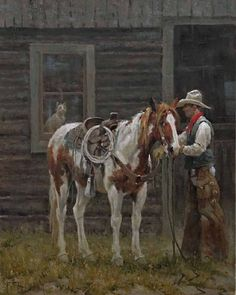 an interested observer by jim rey Oil ~ 30 x 24 kK Great Western, Western Art, Western Cowboy, Western Crafts, Western Decor, Woman Riding Horse, Old West Town, Cowboy Art, Le Far West
