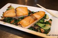 Foodista | Recipes, Cooking Tips, and Food News | Seared Salmon with Sesame Bok Choy and Spinach