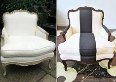 Creating a classic black and white armchair from a discarded old chair - Decoist Chair Redo, Diy Chair, Furniture Makeover, Diy Furniture, Chair Makeover, Classic Furniture, Furniture Projects, Painted Furniture, Modern Furniture