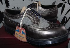 NIB Dr Doc Martens MIE 3989 Limited Edition Pewter/Blue Stripe Wool Brogue Shoes