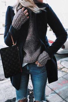 Autumn Cashmere Sweater, coat, jeans