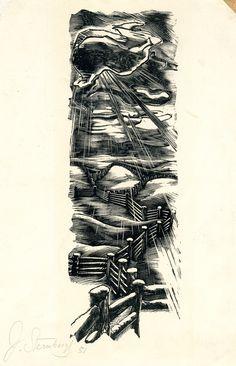 Janis Karlis Sternbergs (Latvian American, 1900-1981). Untitled (Country Fencing). 1951. (wood engraving)
