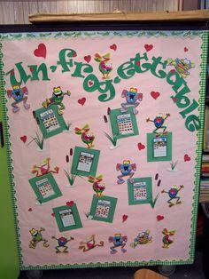 Frog themed bulletin board