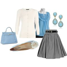For spring, knee-length skirts, light sweaters, and flats make a fun and comfortable business casual look. Polyvore.
