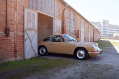 Porsche coming out to enjoy the sunny day. butterscotch.