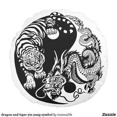 dragon and tiger yin yang symbol of harmony and balance . Black and white vector illustration Dragon And Tiger Tattoo, Dragon Tattoo Drawing, Tiger Dragon, Dragon Art, Dragon Tattoo Black And White, Dragon Tattoos, Arte Yin Yang, Yin Yang Art, Yin Yang Tattoos
