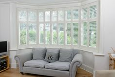 Bay Window Shutters available in MDF or Wood in a choice of styles and colours. View our complete range of Shutters, get a quick quote or book your free survey Indoor Shutters, Interior Window Shutters, Wood Shutters, Interior Windows, Wood Windows, Blinds For Windows, Bay Windows, Shutter Blinds, Bay Window Living Room