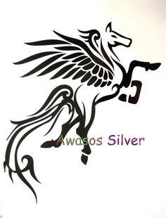 Pegasus by NEWD North Eastern Woodland Designs Pegasus Tattoo, Dragon Head Tattoo, Fantasy Logo, Tattoo Samples, Feather Painting, Body Art Tattoos, Tatoos, Stencil Patterns, Illusion Art