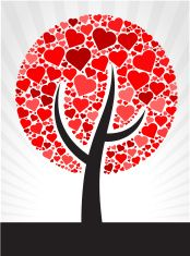 Tree Red Hearts Love Pattern vector art illustration