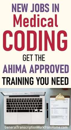 New Jobs in Medical Coding. Get the Training You Need to Get AHIMA Approved and Get Medical Coding Jobs. Medical Transcription Jobs, Medical Coder, Medical Billing And Coding, Best Online Jobs, Online Jobs From Home, Work From Home Jobs, Make Money From Home, Healthcare Careers, Medical Careers