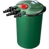 Ani Mate - Fish Mate Pressurized Bio Pond Filter - 3000 Gallon - 035368092718.   Can be intalled above or below ground level. Control knob for auto cleaning of sponge filter elements.  Powerclenz models enable the filter to be cleaned at the twist of a knob. 16' cord.
