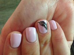 Shellac nails with feather