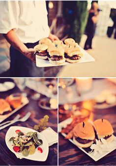 LOVE serving gourmet burgers at the wedding via StyleUnveiled.com / Lovely Vow Renewal / Tamiz Photography