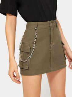 Shein Button Waist Dual Pocket Denim Skirt - Shein Button Waist Dual Pocket Denim Skirt Source by - Teen Fashion Outfits, Edgy Outfits, Skirt Outfits, Skirts With Pockets, Mini Skirts, Mode Grunge, Jugend Mode Outfits, Looks Chic, Denim Outfit