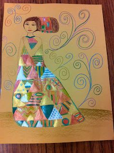 5th grade girls Klimt project.