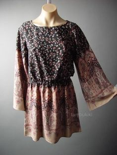 70s Ditsy Floral Paisley Scarf Print Ethnic Boho Bell Sleeve 64 mv Dress S L #Other #ALine #Casual