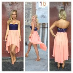 Coral Chiffon Hi Low Navy Lace Bodice Strapless Dress- So pretty!!!