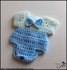 Mamma That Makes: Jacks One Piece - Free Crochet Pattern Preemie Baby Doll Clothes, Crochet Doll Clothes, Doll Clothes Patterns, Crochet Dolls, Preemie Crochet, Free Crochet, Knit Crochet, Baby Patterns, Crochet Patterns