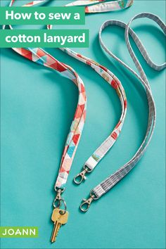 Sew much you can do with cotton! These cotton lanyards are perfect for a beginner sewist, not to mention cute & useful. Sewing Projects For Kids, Easy Diy Projects, Sewing Crafts, Sewing Ideas, Creative Skills, Joanns Fabric And Crafts, Sewing Patterns Free, Step By Step Instructions