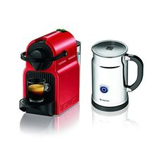 Nespresso Inissia Espresso Maker With Aeroccino Plus Milk Frother, Red    Teacoffeestore.co.