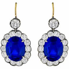 Antique Style 13.40ct Ceylon Sapphire  3.64ct Round Cut Diamond Silver  18k Yellow Gold Earrings